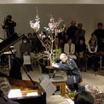 Premiere performance of  Structured Improvisation XI-XIII for Japanese traditional flower art and  space (2005) at Tokyo Wonder Site composed & cond. by Keiko Harada