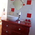 Salle d'eau de la Chambre la Romantique de la Grange du Coulin à Onesse et Laharie
