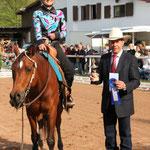 Novice Amateur Reining Gewinnerin Sophia Spinnler auf Manavka´s Magellan