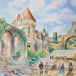 水彩画頼んで頂きました。「イラスト、パステル、デッサン風景(中世風)、街並み(建物)、人物が居れば尚可」という課題で制作しました。