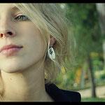Boucles d'oreilles De fil en aiguille - Argent premier titre et textile