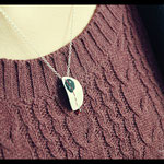 Collier De fil en aiguille - Argent premier titre, textile et perle (grenat)