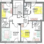 Skizze Wohnung Chalet Rehlein 2. OG