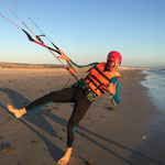 Happy kitesurfing student in Tarifa