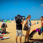 TV interview at Tarifa World Kite Record