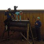 Vorbereitung: die Kür auf dem Holzpferd...