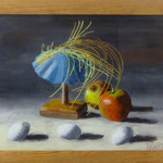 Hütchen, Eier, Äpfel, 2001, Hgl, 54x42 cm, 300,-€