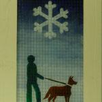 Schneeflocke, 2009, Hinterglasmalerei auf Industrieglas, 43 x 73 cm, 380,-€