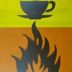 Heiße Tasse, 2007, Mischtechnik auf Hartfaser, 66 x 96 cm, 250,-€