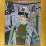 Frau mit Helm, 1984, Hgl, 65 x 78 cm, 600,--€