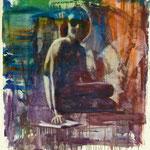 Buchfigur, Ölpapier, 1988, 90 x 100 cm