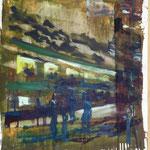 Bahnhof, Ölpapier, 1988, 51 x 67 cm