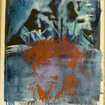 Roter Kopf, Ölpapier, 1988, 60 x 75 cm