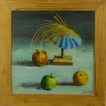 Hütchen, Äpfel, 2001, Hgl, 51x52 cm, 300,-€