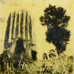 Anpassungsversuch,DGN,  1991, Mischt./Fotoemulsion/LW, 100 x100 cm, 700,--€