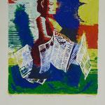 Alte Neuigkeit, Farblinol, 1989, Aufl. 6, 53 x 79 cm