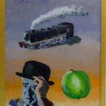 """Magritte, 1991, Hgl, 43 x 53 cm, 280,-€, Aus der Serie """"Freunde und Bekannte"""""""