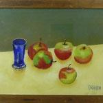 Blaues Glas, Äpfel, 1998, Hgl, 56 x46 cm, 320,-€