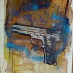 Pistole, Ölpapier, 1988, 80 x 119 cm