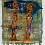 Schirmgötzen, Ölpapier, 1988, 54 x 68 cm