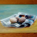 Eier auf Zeitung, 2001, Hgl, 55 x 32 cm, 250,-€