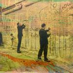 Mauerspechte, 1991, Mischt./Fotoemulsin/LW, 120 x 160