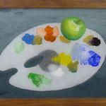 Apfel über Palette, 2007, Hgl, 66x 46 cm, 300,-€