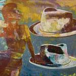 Dame und Hüte, 1992, Mischtechnik/LW, 175 x 140 cm,
