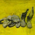Stiefel, 1993, Öl/LW, 160 x 120 cm