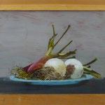 Zwiebeln auf Teller, 2004, Hgl, 50x39 cm, 300,-€