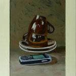 Tassen und Handy, 2002, Hgl, 55 x 70 cm, 480,-€