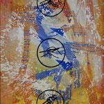 Stäbchen, 2000, Mischt./LW, 107 x 160 cm