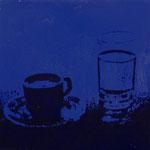 Blaue Tasse, 1998,Mischt./LW, 100 x 100 cm