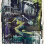 Fernsehzimmer, Ölpapier, 1988, 51 x 67 cm