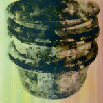 Farbtöpfe, Mischt./Fotoemulsion/LW, 70 x 100 cm, 450,--€