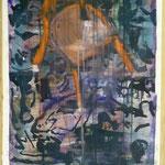 Roter Stuhl, Ölpapier, 1988, 51 x 80 cm