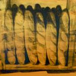 Brote, 1991,DGN , Mischt./Fotoemulsion/LW, 100 x 100 cm