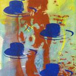 Roter Akt, blaue Hüte, 1994, Mischt./LW, 120 x 160 cm,