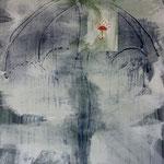Schirme, 2009, Mischtechnik/LW, 120 x 170 cm,
