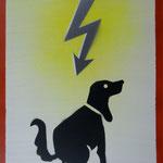 Blitzköter, 2007, Mischtechnik auf Hartfaser, 66 x 96 cm, 250,-€