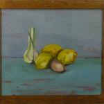 Zitronen, Knoblauch, Ei, 1999, Hgl, 49x43 cm 280,-€