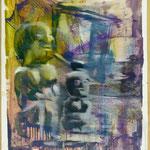 TV-Götzen, Ölpapier, 1988, 68 x 92 cm
