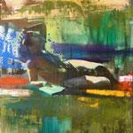 Buchfigur, 1988, Mischt./LW, 120 x 160 cm, 1.200,--€