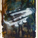 Gitarre, Ölpapier, 1989, 52 x 70 cm