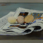 Eier auf Zeitung, 2003, Hgl, 47x38 cm, 250,--€
