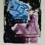 Blauer Stuhl, Farblinol, 1989, Aufl. 8. 53 x 79 cm