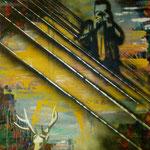 Hirschjagd, 1992, Mischtechnik auf Dekostoff, 120 x 160 cm