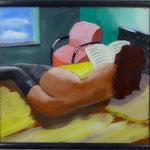Akt, roter Sessel, 1983, Hgl, 63 x 57 cm, 300,-€