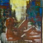Lesefigur, Ölpapier, 1988, 62 x 77 cm