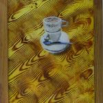 Tassen auf Holz, 2002, Hgl, 44 x 56 cm 200,-€